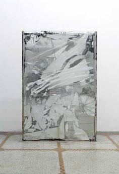 Cracked Slab, 2009 Plexigass, security glass, plywood, steel, cement, mirror papercrete, glassine, C print, mesh, plastic tarp, silicone, paint and tape 151 x 100 x 23 cm