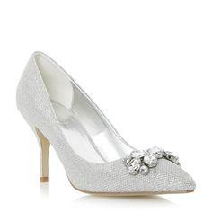 Roland Cartier Metallic jewel embellished pointed toe court shoe- at Debenhams Mobile Dune, Bridal Heels, Silver Shoes, Debenhams, Court Shoes, Shoe Collection, Wedding Shoes, Wedding Dresses