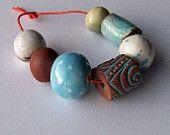 African beads, handmade ceramic bead set, ceramic beads, raku, turquoise