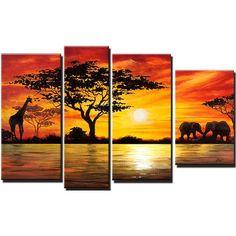 Design Art Modern African Landscape 4 Piece Original Painting on Canvas Set