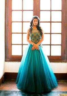 Beautiful turquoise bridal Anarkali