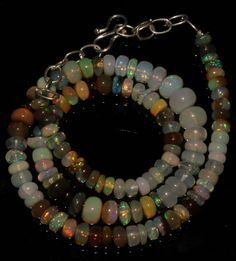 """69 CRT 5-8 MM 14"""" NATURAL ETHIOPIAN  WELO FIRE OPAL RONDELLE BEADS NACKLACE+ 520"""