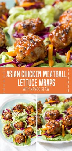 Asian Chicken Meatball Lettuce Wraps with Mango Slaw is a quick and easy healthy recipe for lunch dinner and even as an appetizer! These Asian meatball wraps have saucy chicken meatballs and fresh mango slaw with crunchy butter lettuce. Save this pin fo Clean Eating Recipes For Dinner, Clean Eating Snacks, Healthy Dinner Recipes, Recipes With Mango, Healthy Recipes For Dinner, Quick Lunch Recipes, Easy Clean Eating Recipes, Best Appetizer Recipes, Clean Eating Chicken