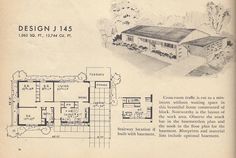 Vintage House Plans, 1950s Home, Mid Century Houses