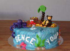 Kindertaarten - Koning Kikker Island cake