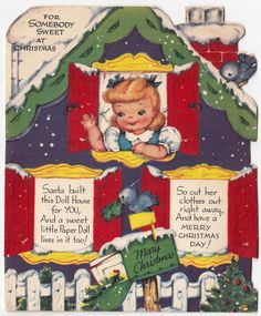 Vintage Greeting Card Girl Mary Christmas Paper Doll Uncut Gibson E577 | eBay