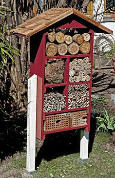 """Insect hotel"" it is not enough to pin this create an insect house - this spring, Bauen, Lake Lucern Marigolds In Garden, Garden Bugs, Garden Insects, Garden Animals, Bug Hotel, Themed Hotel Rooms, Mason Bees, Urban Nature, Beneficial Insects"