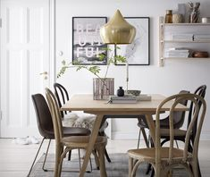 Ellos Home Stol Bell Natur, Brun - Stoler & puffer Dining Table Lighting, Diy Dining Table, Dining Area, Home Interior, Kitchen Interior, Interior Design, Room Of One's Own, Room Lights, Modern Room