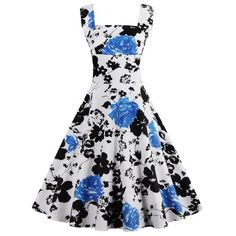 $18.69 Square Neck Floral Print Sleeveless Pin Up Dress