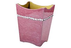 One Kings Lane - Pretty & Pampered - Zsa Zsa Wastebasket, Ash Rose/Gold