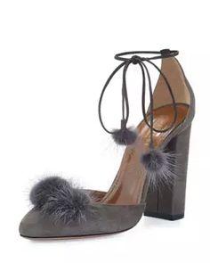 X381Q Aquazzura Wild Russian Mink Fur Pump, Urban Gray
