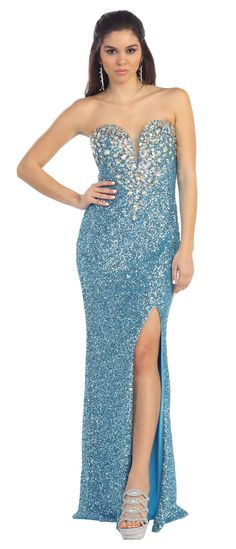 Long Fully Beaded Sequins Prom Formal Evening Dress