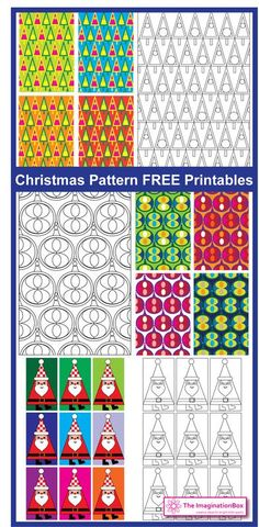 3 Free Festive Patterns to download and colour. Great for making gift tags, garlands, greetings cards or just have fun doodling!