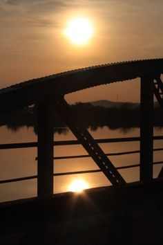 Iron Bridge and Sun Reflection in River Public Domain, View Image, Reflection, Sunrise, Bridge, Iron, River, Photos, Pictures
