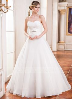 Ball-Gown Sweetheart Floor-Length Organza Satin Wedding Dress With Ruffle Beading Sequins (002051625)