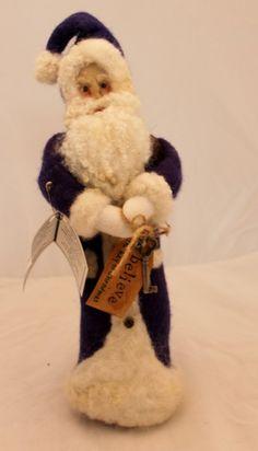 Santa, Needle Felted Hand dyed, Needle Felted, Purple Wool Santa