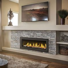 Best No Cost Contemporary Fireplace wall Thoughts Modern fireplace designs can cover a broader category compared to their contemporary counterparts. Vented Gas Fireplace, Fireplace Tv Wall, Linear Fireplace, Basement Fireplace, Farmhouse Fireplace, Fireplace Remodel, Living Room With Fireplace, Fireplace Surrounds, Fireplace Design