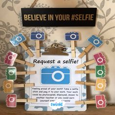 Children will love these mini selfie sticks that they can attach to their work to indicate they would like you, or like to help to take a photo of work they are proud of. Cut out the camera, laminate and stick onto a peg, then you are ready to go. Classroom Organisation Primary, Year 6 Classroom, Primary Classroom Displays, Ks2 Classroom, Teaching Displays, Class Displays, Growth Mindset Display, Growth Mindset Classroom, Good Work Display