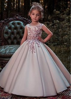 Buy discount Delicate Satin Square Neckline Floor-length Ball Gown Flower  Girl Dresses With Lace 4d34fd6f27a9