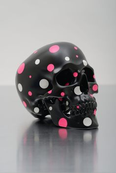 SKULL SUGARED IV BY JIRI GELLER  Its pink and white polka dots and a skull. I love it