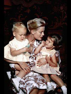 Grace Kelly (Princess Grace of Monaco) with Prince Albert & Princess Caroline, Pic by Philippe Halsman.