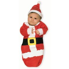 Santa Claus Bunting Costume: Red, 0-6 Months, Christmas, Male, Infant