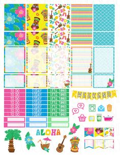Printable Planner Stickers Luau Hawaii Aloha by LaceANDLogus, Etsy