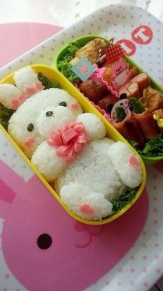 Bunny Holding a Bouquet Bento. This is absolutely adorable. Lunch Box Bento, Bento Kids, Cute Bento Boxes, Cute Food, Yummy Food, Kawaii Cooking, Japanese Food Art, Japanese Lunch, Kawaii Bento