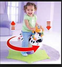 FYI: when the stomach virus is going thru your house don't let your child ride a spinny toy (like this one) even if they don't show signs of being sick  Suddenly the virus shows up while they r in spinning motion and exits the child like a machine gun, many feet away from the child and riding toy