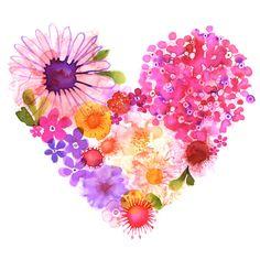 Margaret Berg Art : Illustration : florals / spring Very pretty Art And Illustration, Watercolor Illustration, Art Floral, Floral Wall, Watercolor Flowers, Watercolor Paintings, Watercolour, Heart Art, Flower Art