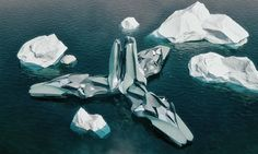 Bioprospecting Station Antarctica Lenka Petráková This floating research structure powered by solar energy would house drones that collect and catalogue biomaterial in Antarctica.
