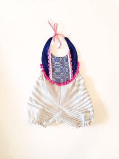 Pinstripe infant and toddler romper with blue by thebrassrazookids, $48.00