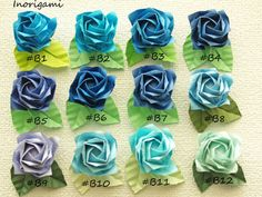 Blue hues 1 Fine Origami Rose magnet with individual by Inorigami