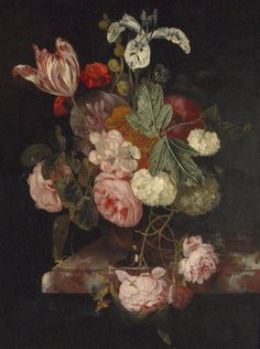 petitpoulailler:  monsieurleprince:Cornelis Kick (Dutch Golden Age, 1635-81) - Still life with roses, a tulip and other flowers