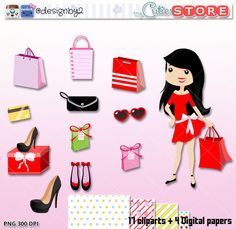 Shooping Girl clipart digital graphics perfects for planner stickers, paperclips, scrapbooking. Include 4 digital papers by MyCutieStore on Etsy https://www.etsy.com/uk/listing/289191201/shooping-girl-clipart-digital-graphics