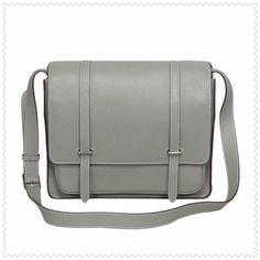 Hermes Jypsiere Men's Togo Leather Messenger Bag Silver Grey