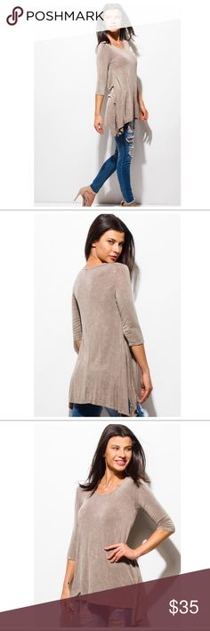 Acid wash knit top with side slit.  Butter soft women's acid wash knit top in Mocha. 3/4 sleeve, side slit. Just in time for fall! Tops