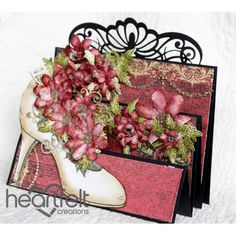 Heartfelt Creations - Flip Fold Shoe With Red Blooms Project