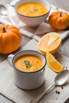 Soupe de potiron, carotte et oranges.