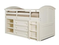 Summer Breeze Cottage Off White Twin Mid Loft Bed 3/3