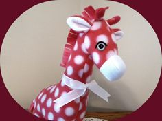 Giraffe Stuffed Animal/Pink Polka Dot Fleece Stuffed Toy/Stuffed Giraffe/Jungle Animal/Giraffe Toy/African Safari Animal/Gift for Kids/plush