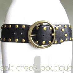 gorgeous linea pelle black full grain leather, aged brass, studded, biker, hippie, boho style belt. available now at salt creek boutique on eBay!