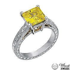 Princess Cut Vintage Two Tone Engagement Ring with Yellow Diamond Center Stone available at Wheat Jewelers