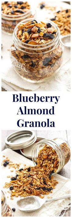 Blueberry Almond Granola   Crunchy, sweet, granola bursting with dried blueberries and almonds!   @reciperunner