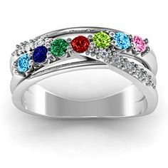 #Personalize this Crossover Accent Multi Band #Birthstone #Ring #girls #jewelry