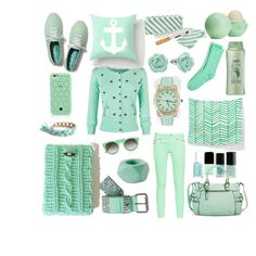 """""""Mint"""" by luvbuzzhandmade on Polyvore featuring Keds, French Connection, Tory Burch, LC Lauren Conrad, Eos, Merona, Sunday Somewhere, HTC and Suave"""