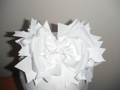 White Hair Bow White Hair Bows, All White Party, All Pictures, Pink, Handmade, Hand Made, Pink Hair, Roses, Handarbeit