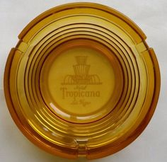 Tropicana Hotel Casino Las Vegas Strip Amber Glass Vintage Ashtray  #ASHTRAY