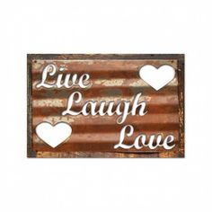 Past Time Signs RCB104 Live Laugh Love Home And Garden Corrugated Rustic Barn Wood Sign - Join the Pricefalls family - Pricefalls.com