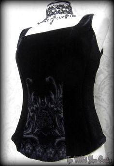 Elegant Gothic Deep Black Velvet Corset Bodice Top 10 Victorian Vintage Romantic | THE WILTED ROSE GARDEN